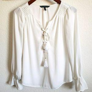 WHBM Smocked Boho Bell Sleeve Blouse Size 4